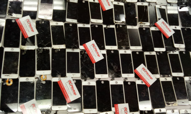 Hundreds of damaged iphone screens